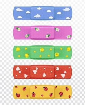 Set di cerotti medicali multicolori realistici
