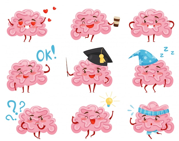 Set di cervelli rosa umanizzati in diverse situazioni. personaggi dei cartoni animati divertenti. organo umano