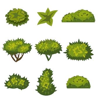 Set di cespugli per giochi, applicazioni, stile cartone animato floreale