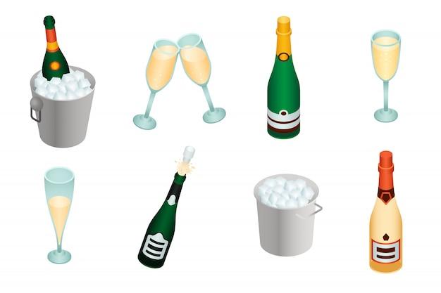 Set di champagne, stile isometrico