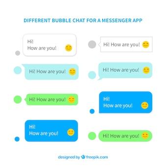 Set di chat di bolle diverse per l'app di messenger