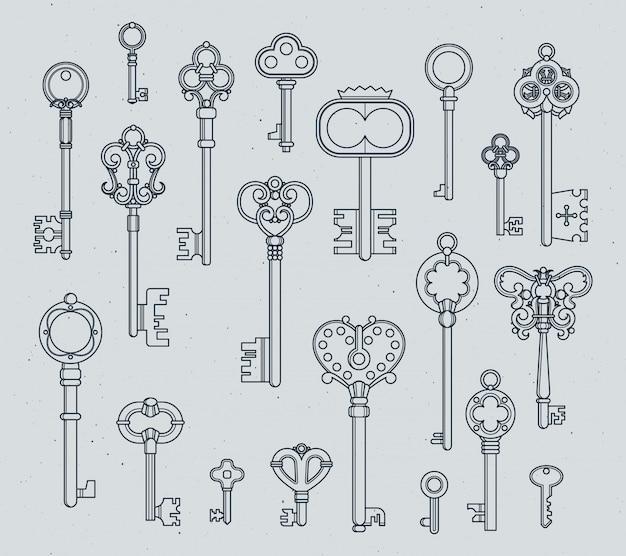 Set di chiavi antiche. le illustrazioni medievali disegnate a mano di vettore di vecchi oggetti isolano su bianco