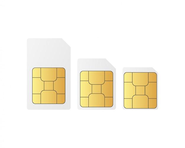 Set di chip per schede sim standart, nano e micro sim.