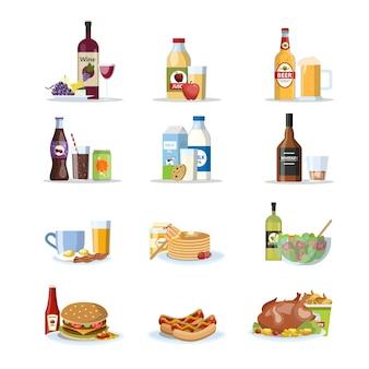 Set di cibo e bevande. latte, soda, succhi e bevande alcoliche con diversi tipi di cibo gustoso: hamburger, pollo, pizza e altri. stili di vita sani e malsani. illustrazione