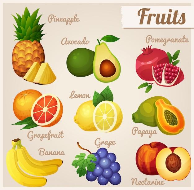 Set di cibo. frutta.