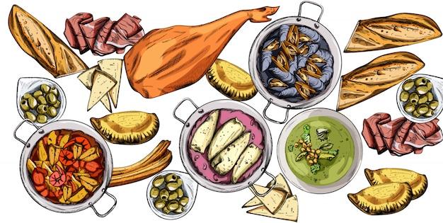 Set di cibo gustoso. cozze, jamon bone, baguette, calzone, zuppa di pesce, fagiolini o purea di spinaci