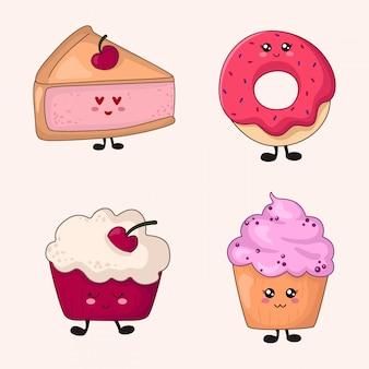 Set di cibo kawaii - dolci o dessert su bianco