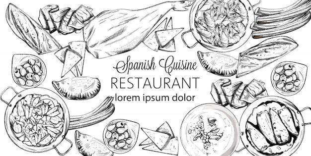 Set di cibo nazionale spagnolo. cozze, jamon bone, baguette, formaggio, calzone, zuppa di pesce, fagiolini o purea di spinaci
