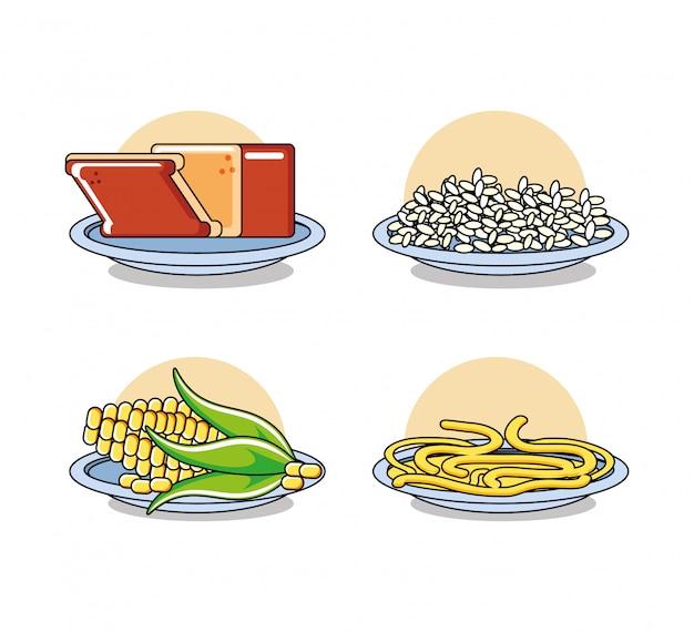 Set di cibo sano insieme