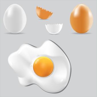 Set di cibo sano per l'uovo