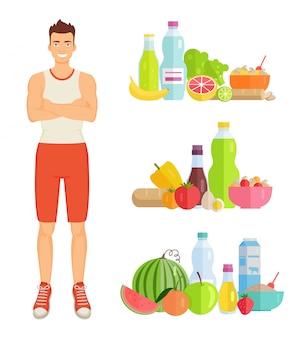 Set di cibo sano uomo mangia