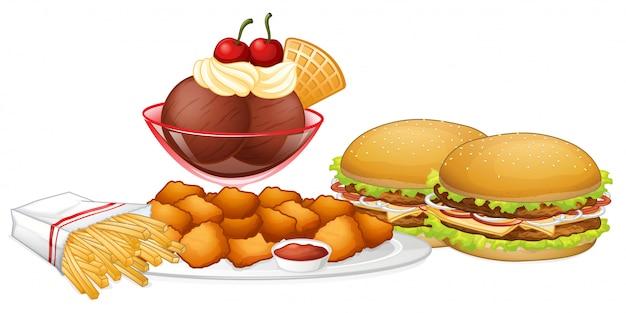 Set di cibo spazzatura