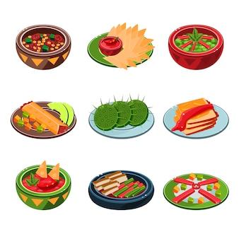 Set di cibo tradizionale messicano