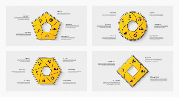 Set di ciclo infografica con più opzioni