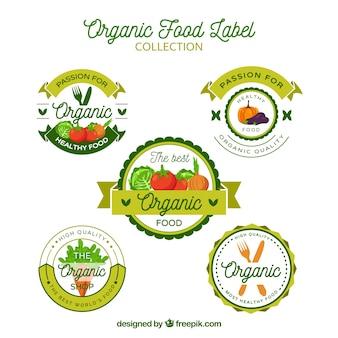 Set di cinque adesivi ecologici in design piatto