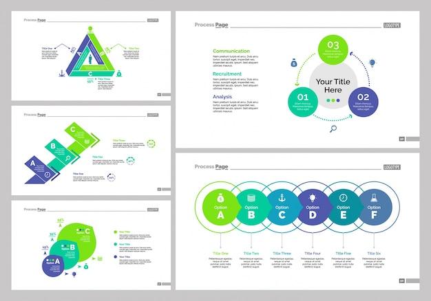 Set di cinque modelli di diapositive di gestione