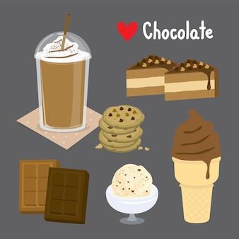 Set di cioccolato dolce e dessert a base di cioccolato. gelato e prodotti da forno. illustrazione di cartone animato
