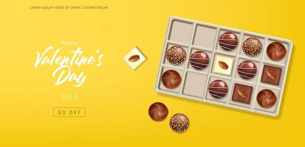Set di cioccolato realistico, delizioso dessert, san valentino, amore, collezione di praline di cioccolato vista dall'alto, banner di cioccolato bianco e nero
