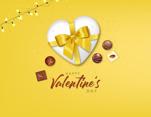 Set di cioccolato realistico, regalo, caramelle e luci, delizioso dessert, san valentino, amore, collezione di praline di cioccolato vista dall'alto, cioccolato bianco e nero