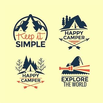 Set di citazioni di campeggio e all'aperto