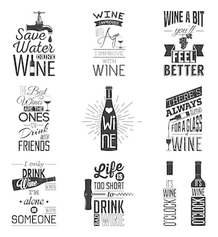 Set di citazioni tipografiche di vino d'annata. effetto grunge