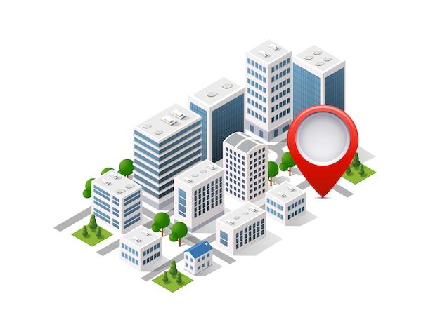 Set di città di isometrica dell'infrastruttura urbana