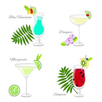 Set di cocktail estivi in stile cartone animato