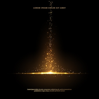Set di code di polvere scintillante in stile dorato, fondo astratto di scintillio dorato