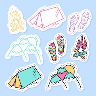 Set di collezione di adesivi di viaggio in stile cartone animato