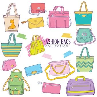 Set di collezione di borse moda doodle