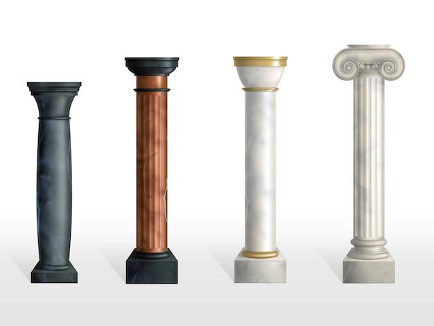 Set di colonne antiche. colonne ornate classiche di pietra o di marmo antiche di differenti colori e strutture isolate. decorazione di facciata romana o greca. illustrazione realistica di vettore 3d