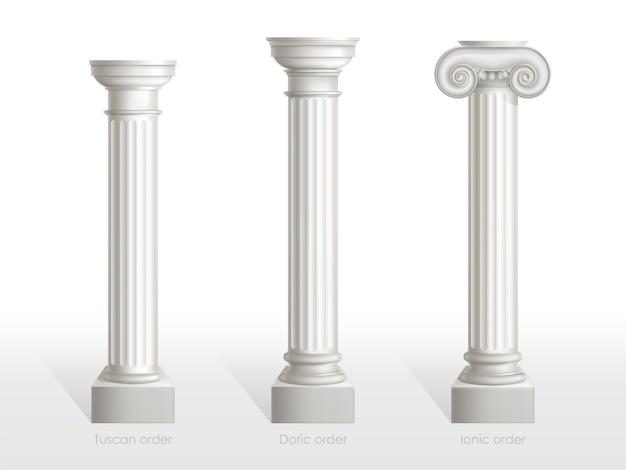 Set di colonne antiche di ordine toscano, dorico e ionico isolato. antiche colonne classiche ornate di architettura romana o in grecia per la decorazione di facciata illustrazione realistica di vettore 3d
