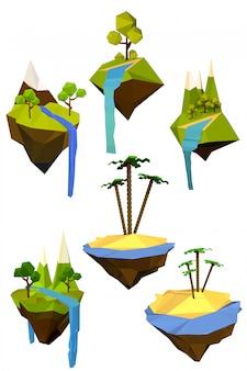 Set di colorate isole volanti con alberi, montagne e cascate.
