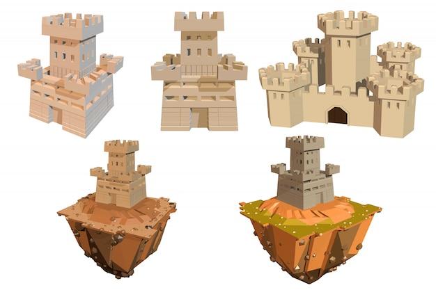 Set di colori di castelli e isole su un bianco.