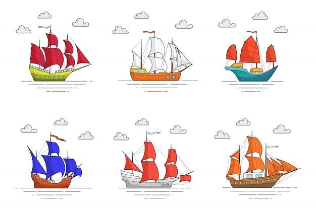 Set di colori navi con vele in mare. banner in viaggio con barca a vela sulle onde. skyline astratto arte linea piatta. illustrazione vettoriale concetto per viaggio, turismo, agenzia di viaggi, hotel, carta vacanze