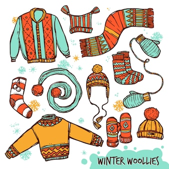 Set di colori per vestiti lavorati a maglia caldi invernali