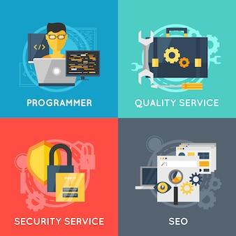 Set di colori piatto di sviluppo del programma