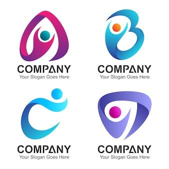 Set di combinazione iniziale logo lettera con icone di persone