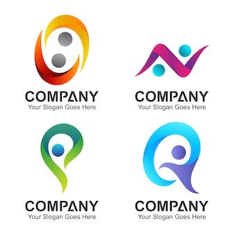 Set di combinazioni iniziali di lettere con forma di persone