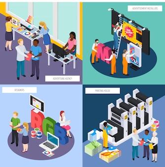 Set di composizione isometrica personale agenzia pubblicitaria