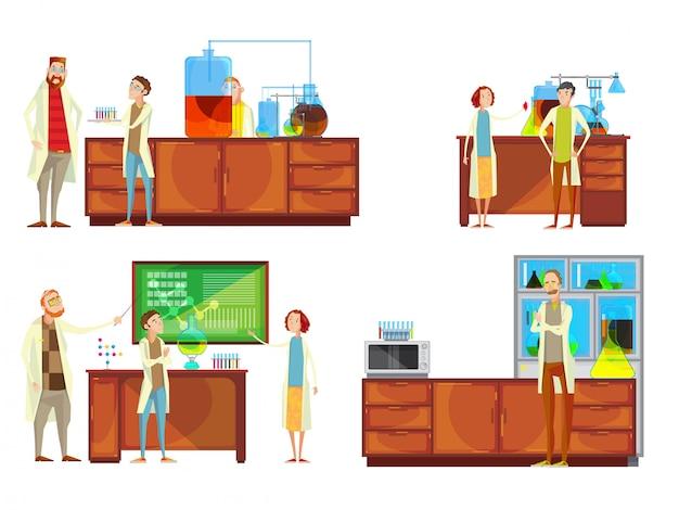 Set di composizioni con caratteri di doodle di insegnanti e studenti nell'insegnamento del laboratorio chimico r