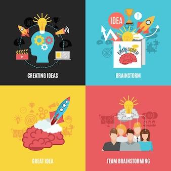 Set di composizioni di brainstorm 2x2