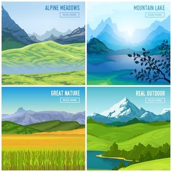 Set di composizioni di paesaggio di montagna