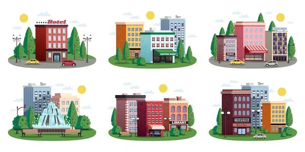 Set di composizioni estive di case di città