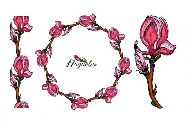 Set di composizioni floreali con fiori di magnolia