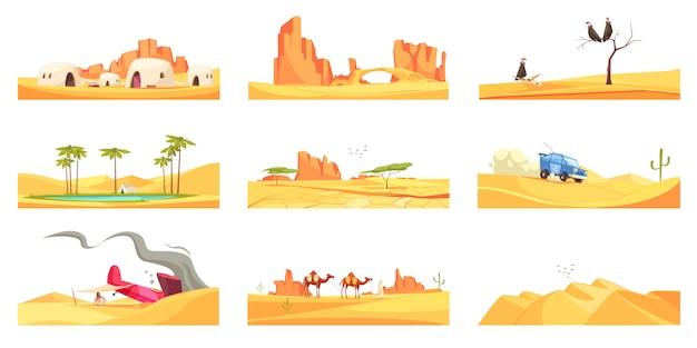 Set di composizioni in paesaggi desertici