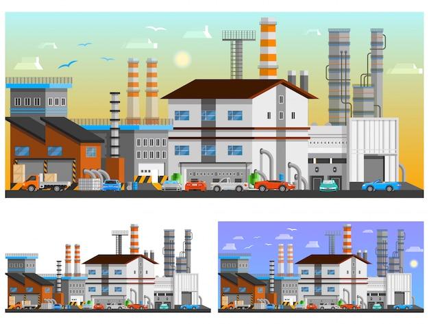 Set di composizioni ortogonali di edifici industriali