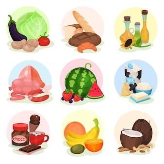 Set di composizioni vecrtor con diversi prodotti. frutta e verdura fresca, bottiglie con oli, prodotti da forno, dolci, carne e latticini
