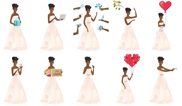 Set di con carattere sposa africana.
