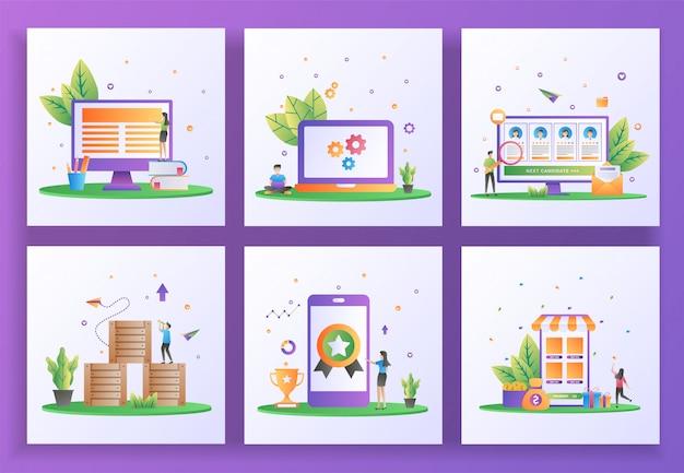 Set di concept design piatto. apprendimento online, manutenzione, reclutamento online, distribuzione logistica, alta qualità, rimborso.